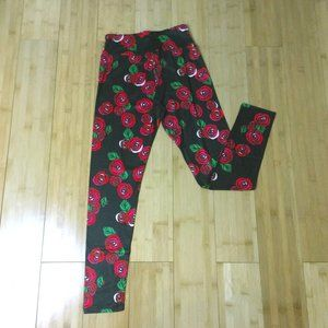 Other - Charlie's Project Black Leggings With Red Roses